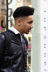 Silvano Guadagni, 24, a business development executive from Bow in East London outside Topshop at Oxford Circus in London. London, October 26 2018.