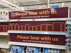 © Licensed to London News Pictures 20/09/2021. <br /> Sevenoaks, UK, Please bear with us signs on empty shelves at Sainsburys in Sevenoaks, Kent today. Supermarket shortages are continuing across the UK due to a lack of supply and a shortage of lorry drivers which is expected to get a lot worse over the next few months. Photo credit:Grant Falvey/LNP