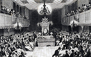 House of Commons in session in the Houses of Parliament which were destroyed by fire in 1834.  Engraving.