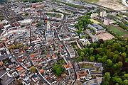 Nederland, Noord-Brabant, Breda, 09-05-2013; centrum van Breda. Grote of Onze-Lieve-Vrouwekerk, rechtsonder Rechts stadspark Valkenberg geheel rechts het Kasteel van Breda en de KMA (Koninklijke Militaire Academie)<br /> Center of Breda, around the Great Church.<br /> Many people around because of the Breda Jazz Festival 2013.<br /> <br /> luchtfoto (toeslag op standard tarieven);<br /> aerial photo (additional fee required);<br /> copyright foto/photo Siebe Swart.