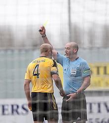 Livingston Simon Mensing gets a yellow card card after a melee after Falkirk were awarded a penalty.<br /> Falkirk 1 v 1 Livingston, Scottish Championship game today at The Falkirk Stadium.<br /> © Michael Schofield.