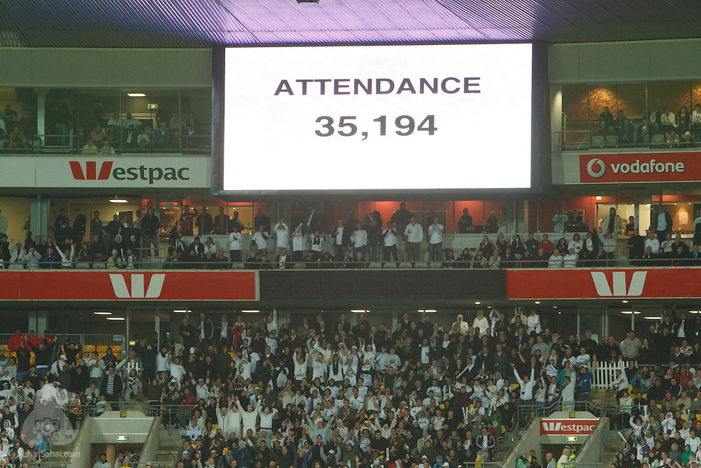 A record 35,194 football fans attend the second leg of the 2010 FIFA Wold Cup qualifying game opposing the New Zealand All Whites to Bahrain, at Westpac Stadium on November 14, 2009. This is the largest attendance for a football match in New Zealand.