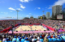General view of the Men's Preliminary Beach Volleyball Competition at Coolangatta Beachfront during day two of the 2018 Commonwealth Games in the Gold Coast, Australia.