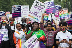 London, UK. 24th July, 2021. Phyll Opoku-Gyimah, co-founder and director of UK Black Pride, leads thousands of LGBTI+ protesters on the first-ever Reclaim Pride march. Reclaim Pride replaced the traditional Pride in London march, which many feel has become too commercial and strayed from its roots in protest, and was billed as a People's Pride march for LGBTI+ liberation.