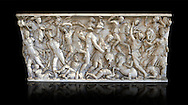 Roman sarcophagus depicting a battle between Achilles and Pentesilea and Amazons, the faces of the deceased have been sculpted over the Greek heroes, circa 230-250 AD, inv 933, Vatican Museum Rome, Italy,  black background ..<br /> <br /> If you prefer to buy from our ALAMY STOCK LIBRARY page at https://www.alamy.com/portfolio/paul-williams-funkystock/greco-roman-sculptures.html . Type -    Vatican    - into LOWER SEARCH WITHIN GALLERY box - Refine search by adding a subject, place, background colour, museum etc.<br /> <br /> Visit our CLASSICAL WORLD HISTORIC SITES PHOTO COLLECTIONS for more photos to download or buy as wall art prints https://funkystock.photoshelter.com/gallery-collection/The-Romans-Art-Artefacts-Antiquities-Historic-Sites-Pictures-Images/C0000r2uLJJo9_s0c