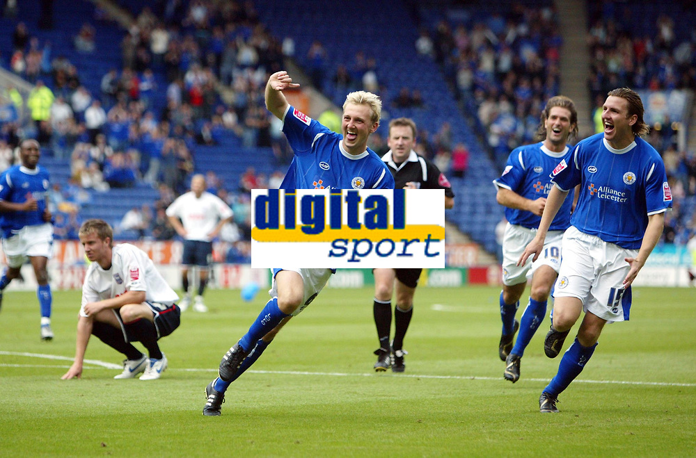 Photo: Chris Ratcliffe.<br />Leicester City v Ipswich Town. Coca Cola Championship. 12/08/2006.<br />Stephen Hughes (centre) celebrates putting Leicester into a 2-0 lead as Eric Nils-Johansson chases him (R).