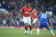 Antonio Valencia of Manchester United looks to go past  Eden Hazard of Chelsea. Barclays Premier league match, Chelsea v Manchester Utd at Stamford Bridge Stadium in London on Saturday 18th April 2015.<br /> pic by John Patrick Fletcher, Andrew Orchard sports photography.