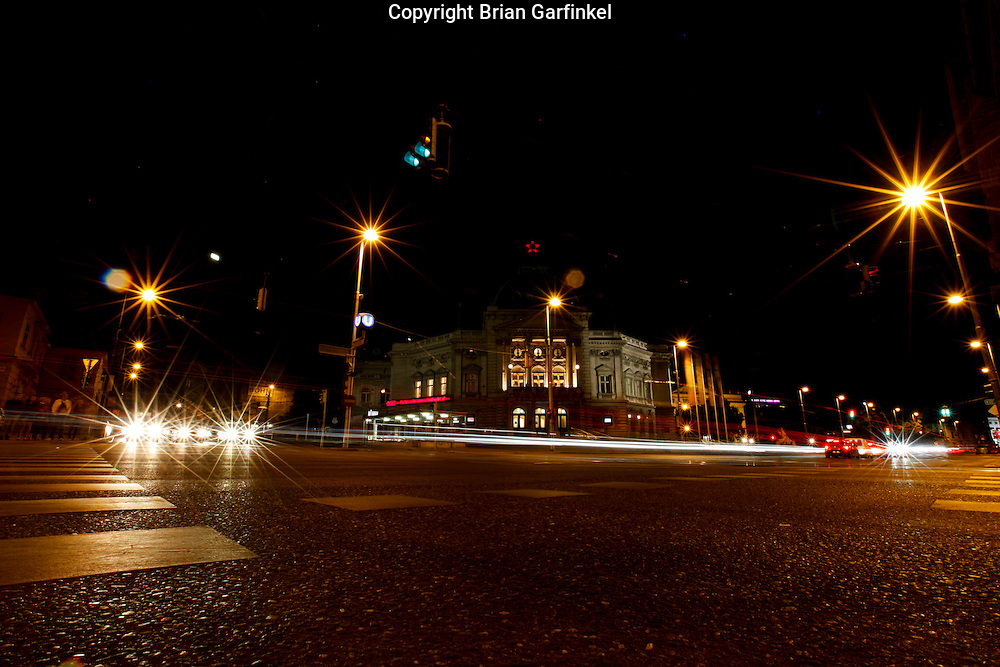 A view of the street at night in Vienna, Austria on Thursday June 30th 2011. (Photo by Brian Garfinkel)