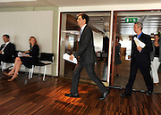 © licensed to London News Pictures. LONDON, UK.  11/07/11. Ed Miliband (L) and Ivan Lewis (R) arrive for the conference. Ed Miliband gives his monthly press conference at The Royal Festival Hall. He was joined by Ivan Lewis the Shadow Culture Secretary to take questions on the News of The World story. Mandatory Credit Stephen Simpson/LNP