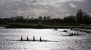 Eton, Great Britain, Crews leaving the start area for there time trial, 2009 Scullery Dorney Lake, Eton Rowing Centre, 09.03.2009 [Mandatory Credit Peter Spurrier] Rowing Courses, Dorney Lake, Eton. ENGLAND