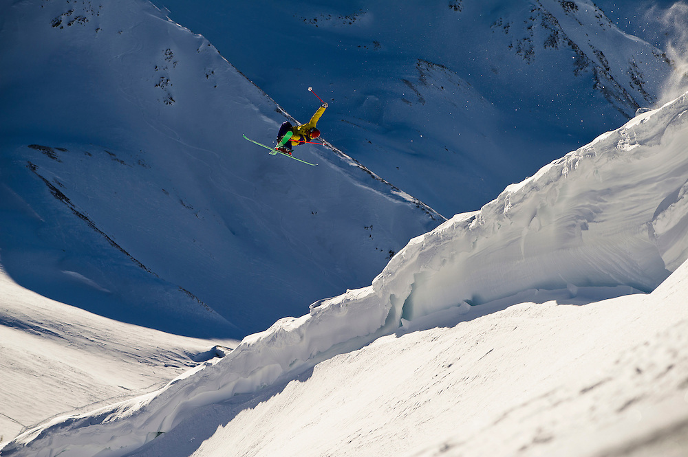Flo Wieser spins a 720 during the Voelkl ski shoot, Chamonix, France.