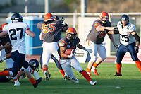 KELOWNA, BC - AUGUST 3: Running back Kelton Kouri #38 of the Okanagan Sun breaks away with the ball during the first quarter against the Kamloops Broncos at the Apple Bowl on August 3, 2019 in Kelowna, Canada. (Photo by Marissa Baecker/Shoot the Breeze)