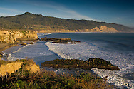 Waves braking below cliffs at Ano Nuevo State Reserve, San Mateo County coast, California