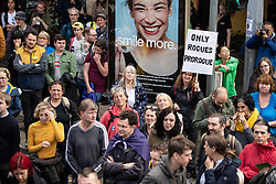 "© Licensed to London News Pictures. 31/08/2019. Manchester, UK. Placard reading "" Only Rogues Prorogue "" .Thousands attend a pro EU demo in Manchester City Centre and march en masse along John Dalton Street to join an Extinction Rebellion occupation of Deansgate . Objections are being raised about the Prime Minister Boris Johnson's intention to prorogue Parliament in the run up to Britain's planned Brexit deadline . Photo credit: Joel Goodman/LNP"