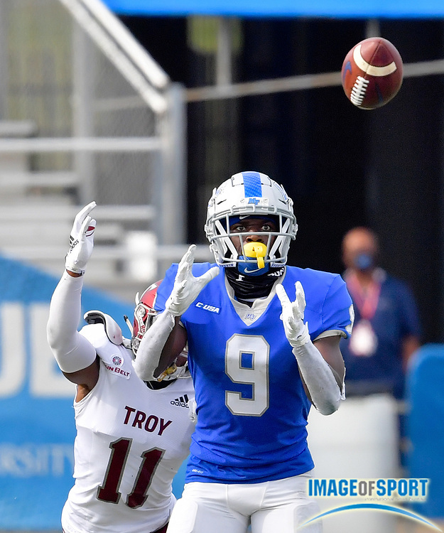 """Middle Tennessee Blue Raiders wide receiver Jarrin Pierce (9) catches a pass against Troy Trojans cornerback O'shai Fletcher (11) during the first half at Johnny """"Red"""" Floyd Stadium in Murfreesboro, Tenn., Saturday, Sept. 19, 2020. (Jim Brown/Image of Sport)"""