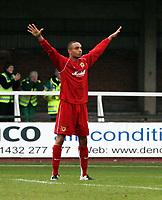 Photo: Mark Stephenson.<br /> Hereford United v Milton Keynes Dons. Coca Cola League 2. 20/10/2007.M K Don's Mark Wright celebrates his 2ed half goal