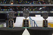 Women's podium of the Street League Skateboarding World Tour Event at Queen Elizabeth Olympic Park on 26th May 2019 in London in the United Kingdom.