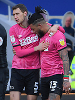 Football - 2020 / 20-21 Sky Bet Championship - Queens Park Rangers vs Derby County - Kiyan Prince Foundation Stadium<br /> <br /> Colin Kazim-Richards of Derby County (right) celebrates scoring the opening goal with Krystian Bielik.<br /> <br /> COLORSPORT