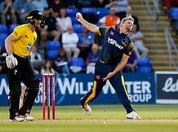 Glamorgan's Craig Meschede bowls to Gloucestershire's Michael Klinger<br /> <br /> Photographer Simon King/Replay Images<br /> <br /> Vitality Blast T20 - Round 8 - Glamorgan v Gloucestershire - Friday 3rd August 2018 - Sophia Gardens - Cardiff<br /> <br /> World Copyright © Replay Images . All rights reserved. info@replayimages.co.uk - http://replayimages.co.uk
