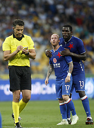 August 14, 2018 - The referee from Poland Daniel Stefanski makes a yellow card Miroslav Stoch( C) of Slavia  during the UEFA Champions League third qualifying round, second leg, soccer match between FC Dynamo Kiev and SK Slavia Prague in Kiev, Ukraine, 14 August 2018. (Credit Image: © Anatolii Stepanov via ZUMA Wire)