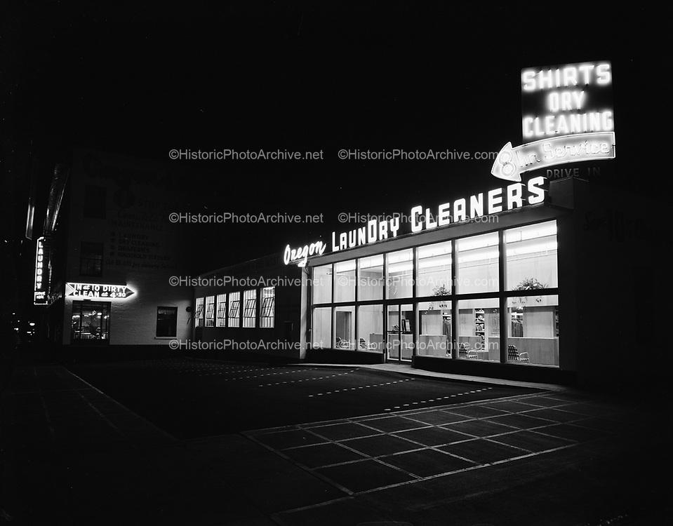 Y-530820-1. Oregon Laundry, night photos, 232 SW Columbia, August 20, 1953