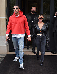Kourtney Kardashian and boyfriend Younes Bendjima are seen leaving their hotel in Paris and going out shopping, the couple were seen in a new sunglass shop called I Look<br /><br />27 September 2017.<br /><br />Please byline: Vantagenews.com