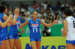 29-08-2010 VOLLEYBAL: WGP FINAL ITALY - POLAND: BEILUN NINGBO<br /> Poland lost with 3-1 from Italy / Giulia Rondon and Simona Gioli<br /> ©2010-WWW.FOTOHOOGENDOORN.NL