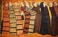 """Gothic  painting """"Pleurants"""" Circa 1295. National Museum of Catalan Art, Barcelona, Spain, inv no: 004372-005. <br /> Part of a set of eight panels. They come from the decoration on the tomb of the knight Sancho Sánchez Carrillo in the chapel of San Andrés de Mahamud (Burgos)..<br /> <br /> If you prefer you can also buy from our ALAMY PHOTO LIBRARY  Collection visit : https://www.alamy.com/portfolio/paul-williams-funkystock/romanesque-art-antiquities.html<br /> Type -     MNAC     - into the LOWER SEARCH WITHIN GALLERY box. Refine search by adding background colour, place, subject etc<br /> <br /> Visit our ROMANESQUE ART PHOTO COLLECTION for more   photos  to download or buy as prints https://funkystock.photoshelter.com/gallery-collection/Medieval-Romanesque-Art-Antiquities-Historic-Sites-Pictures-Images-of/C0000uYGQT94tY_Y"""