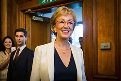 © Licensed to London News Pictures. 11/06/2019. London, UK.  Tory leadership candidate ANDREA LEADSOM arrives to speak at her leadership campaign launch event held in Westminster this morning. Former House of Commons leader, Andrea Leadsom is one of the final ten candidates who are standing to become leader of the Conservative Party and British Prime Minister. Photo credit: Vickie Flores/LNP