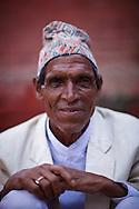 Nepalese man wearing a traditional Topi Hat, Durbar Square, Kathmandu, Nepal