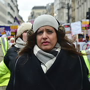 London, UK. 17 March 2018. Sabby Dhalu of Stand Up To Racism join March Against Racism highlight Islamophobia , Grenfell , migrants & refugees, anti-Semitism & the far right, black deaths in police custody, Stop the War and Care4Calais on UN Anti Racism Day to Downing Street, London, UK