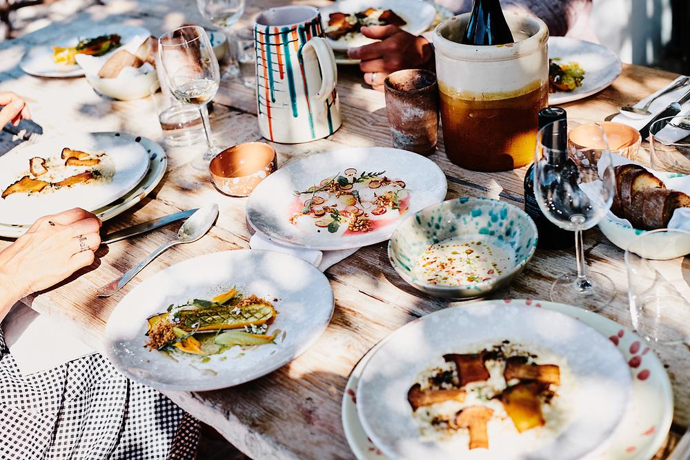 Food on Masseria Moroseta's table. Ostuni, Italia. September 28, 2019.