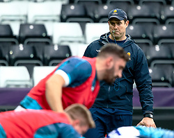 Head Coach Rory Duncan of Worcester Warriors during the pre match warm up<br /> <br /> Photographer Simon King/Replay Images<br /> <br /> European Rugby Challenge Cup Round 5 - Ospreys v Worcester Warriors - Saturday 12th January 2019 - Liberty Stadium - Swansea<br /> <br /> World Copyright © Replay Images . All rights reserved. info@replayimages.co.uk - http://replayimages.co.uk