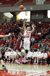 03 March 2013:  Jamie Russell gets a shot off over Tyonna Snow during an NCAA Missouri Valley Conference (MVC) women's basketball game between the Missouri State Bears and the Illinois Sate Redbirds at Redbird Arena in Normal IL