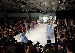 Models on the catwalk during the Preen by Thornton Bregazzi London Fashion Week SS18 show held at QEII Centre, London.