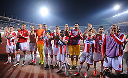 Players of Crvena Zvezda after the football match between NK Crvena Zvezda Beograd and Arsenal FC in Group H of UEFA Europa League 2017/18, on October 19, 2017 in Stadion Rajko Mitic, Belgrade, Serbia. Photo by Marko Metlas / Sportida