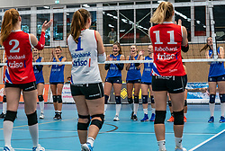 Shaking hands remotely by the Covid 19 measures during<br />  the supercup semifinal between VC Sneek and Sliedrecht Sport on October, 03 2020 in Van der Knaaphal, Ede