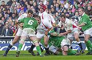 Twickenham. Surrey, UK., 16th February 2002, Six Nations International Rugby,  RFU Stadium, England vs Ireland,  [Mandatory Credit: Peter Spurrier/Intersport Images],Englands' Martin JOHNSON, supported by Jason LEONARD, Phil VICKERY and Steve THOMPSON, face by Ireland's Anthony FOLEY,<br /> <br /> The Lloyds TSB Six Nations Championship<br /> England v Ireland<br /> RFU - Twickenham<br /> 16/02/2002