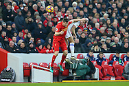 James Milner of Liverpool and Billy Jones of Sunderland collide as they jump for the ball. Premier League match, Liverpool v Sunderland at the Anfield stadium in Liverpool, Merseyside on Saturday 26th November 2016.<br /> pic by Chris Stading, Andrew Orchard sports photography.