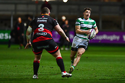 Newcastle Falcons' Adam Radwan in action during todays match<br /> <br /> Photographer Craig Thomas/Replay Images<br /> <br /> EPCR Champions Cup Round 4 - Newport Gwent Dragons v Newcastle Falcons - Friday 15th December 2017 - Rodney Parade - Newport<br /> <br /> World Copyright © 2017 Replay Images. All rights reserved. info@replayimages.co.uk - www.replayimages.co.uk