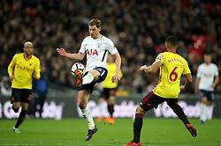 Tottenham Hotspur's Jan Vertonghen controls the ball during the Premier League match at Wembley Stadium. London.