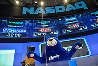 """The Charmin Bear gets ready to ring the NASDAQ closing bell as part of Ad Week's """"Walk of Great Icons"""" event in NYC September 23, 2013. """"/ Russ DeSantis / AP Images for"""