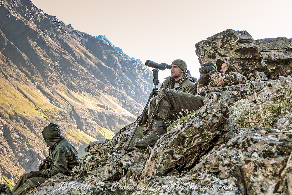 Guides and hunters scouting for Dall Sheep high in the Chugach Mountains of Alaska