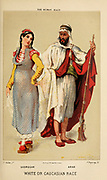 Georgian woman (Left) Arab man (right) Hand painted engraving on wood From The human race by Figuier, Louis, (1819-1894) Publication in 1872 Publisher: New York, Appleton