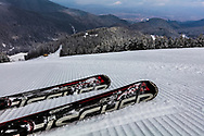 Pair of skis on the ski slope