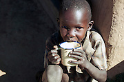 Maasai child drinkning, Oyaratta village near Maasai Mara National Reserve, Kenya
