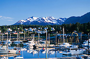 Alaska. Haines. Small boat harbor on Chilkoot Inlet looking towards Fort Seward and the Chilkat Range.