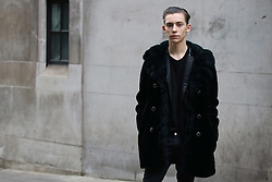 Student Myles Mansfield Calenti arrives at the Ryan Lo Autumn / Winter 2017 London Fashion Week show at 180 Strand, London on Saturday February 18, 2017