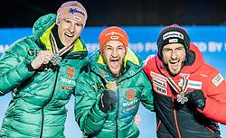 23.02.2019, Medal Plaza, Seefeld, AUT, FIS Weltmeisterschaften Ski Nordisch, Seefeld 2019, Skisprung, Herren, Siegerehrung, im Bild v.l. Silbermedaillengewinner Karl Geiger (GER), Weltmeister und Goldmedaillengewinner Markus Eisenbichler (GER), Bronzemedaillengewinner Killian Peier (SUI) // f.l. Silver medalist Karl Geiger of Germany World champion and Gold medalist Markus Eisenbichler of Germany and Bronce medalist Killian Peier of Switzerland during the winner Ceremony for the men's Skijumping HS130 competition of FIS Nordic Ski World Championships 2019 at the Medal Plaza in Seefeld, Austria on 2019/02/23. EXPA Pictures © 2019, PhotoCredit: EXPA/ Stefan Adelsberger