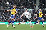 Southampton defender Jannik Vestergaard heads the ball during the The FA Cup 3rd round match between Derby County and Southampton at the Pride Park, Derby, England on 5 January 2019.